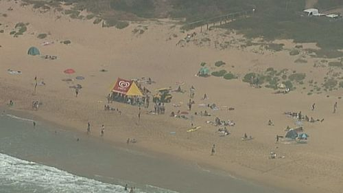 Sea fog which was lingering over Manly Beach began to clear this afternoon. (9NEWS.)