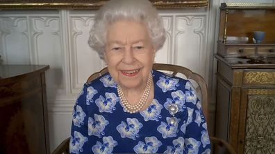 Her Majesty Queen Elizabeth II speaks on a video call to thank volunteers with the Royal Voluntary Service on March 19, 2021 in Windsor, United Kingdom.