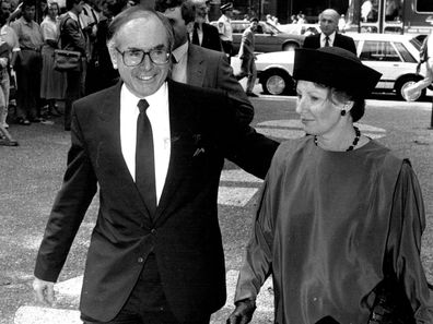 John Howard arrives with his wife Janette at Sir William McMahon Memorial Service in April 08, 1988.