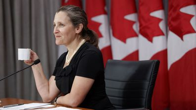 Canada's Deputy Prime Minister Chrystia Freeland speaks during a news conference in Toronto, Friday, Aug. 7, 2020.