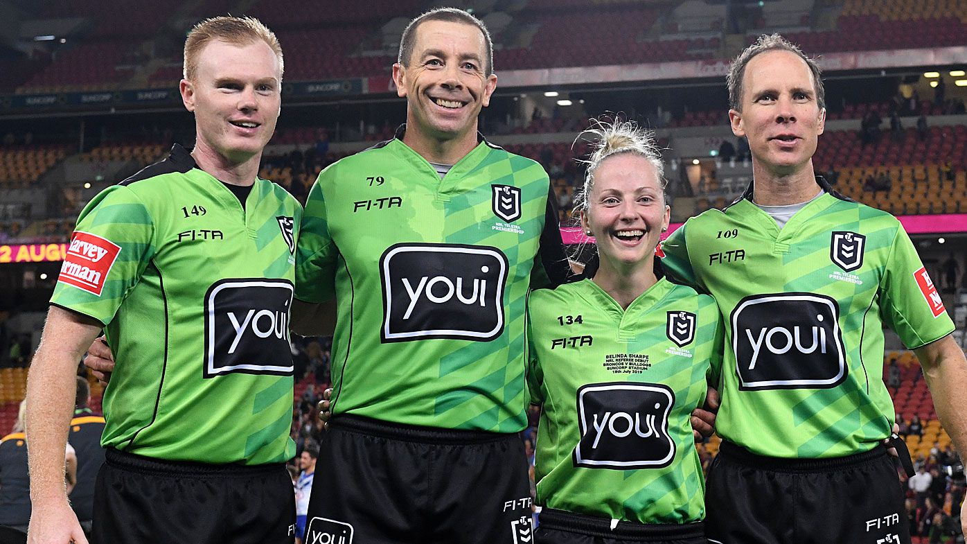 Referee Belinda Sharpe (2R) poses with referees following the Round 18 NRL match