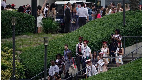 Graduates from Marjory Stoneman Douglas High School leave the graduation ceremony. Picture: Joe Cavaretta/Sun Sentinel/TNS via Getty Images