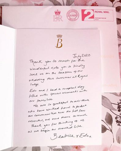 The thank you note was sent to a well-wisher following her July wedding.