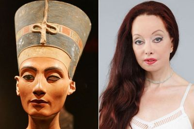 UK woman Nileen Namita blew more than $350,000 on more than 50 cosmetic surgeries to look like Queen Nefertiti after she had a dream in 1987 that she was the Egyptian beauty in a past life. She even copied the busted eye (but maybe that wasn't deliberate)!