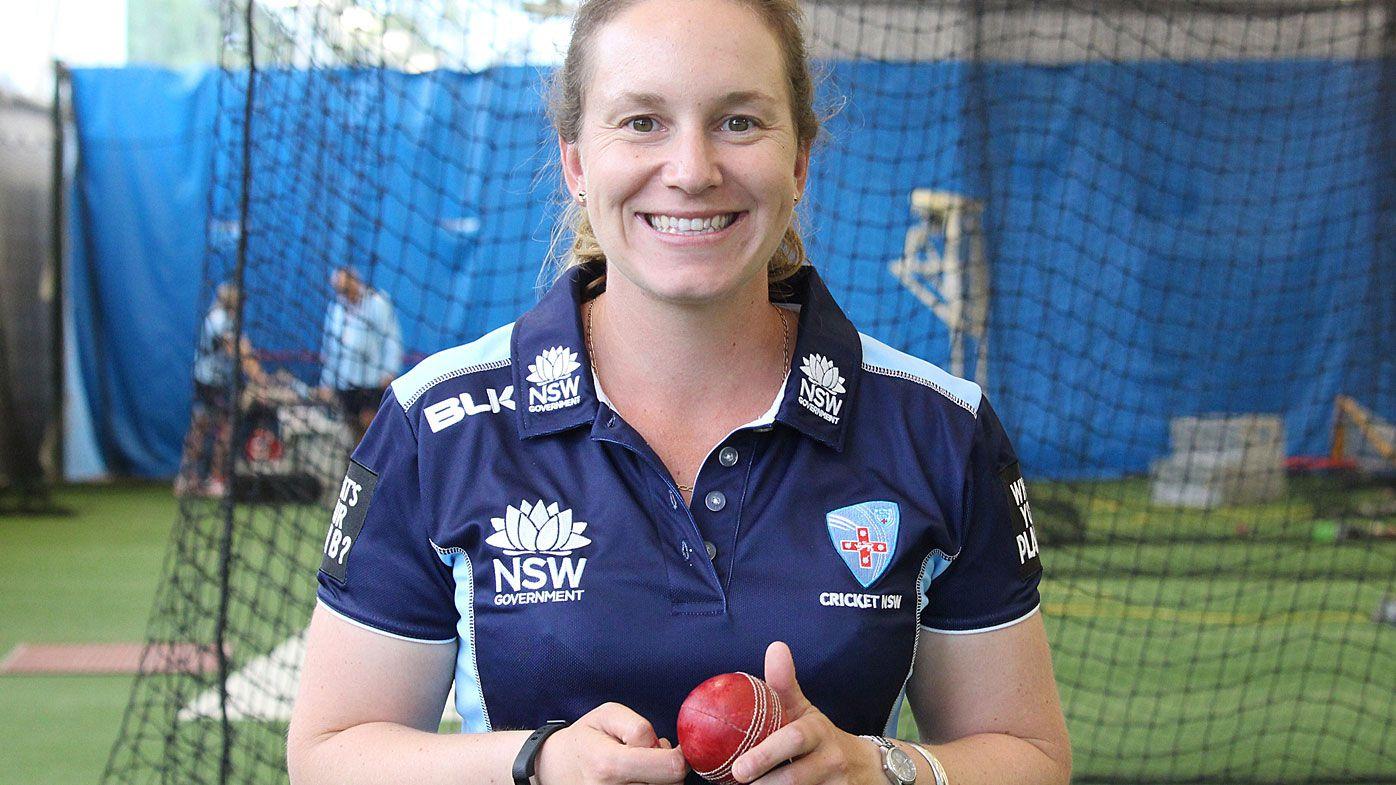 Female cricket umpire Claire Polosak