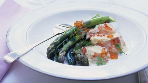 Champagne-poached lobster with asparagus and baby leeks