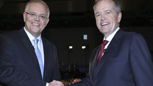 Scott Morrison and Bill Shorten before tonight's People's Forum.