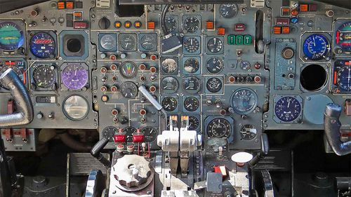 The cockpit of Romanian dictator Nicolae Ceausescu's plane.