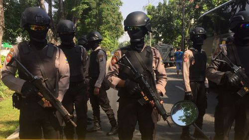 Police presence was bulked up across Surabaya and Jakarta in light of the first attack. Picture: AAP.