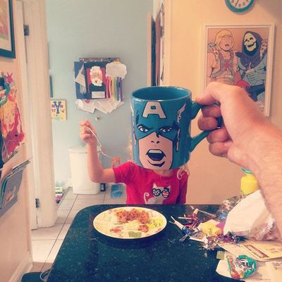 Captain America starts every day with a balanced meal. (Instagram)