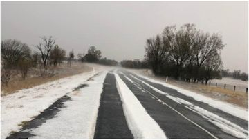 Hail has left parts of Queensland's south covered in white in a chilly start to October.