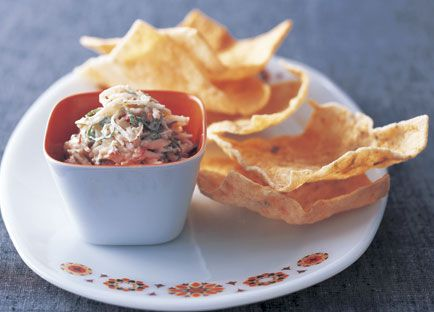 Crab, coconut and mint dip with cassava crackers