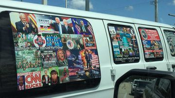 Cesar Sayoc lived in a van plastered with stickers of President Donald Trump, showing politicians like Barack Obama and Hillary Clinton in the crosshairs of a gun.