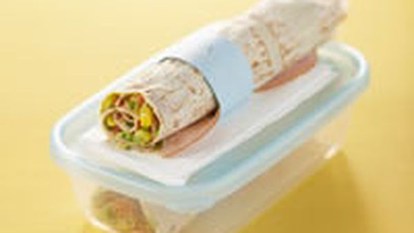 Guacamole and ham wrap