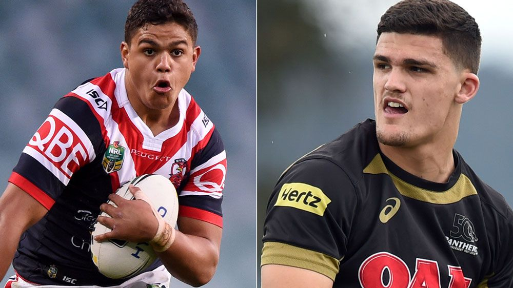 Latrell Mitchell and Nathan Cleary. (AAP)