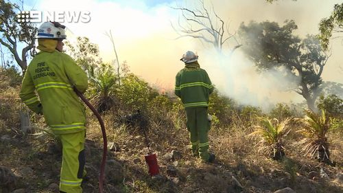 Fire crews in Rockhampton are monitoring a bushfire at Mount Archer that could threaten homes.