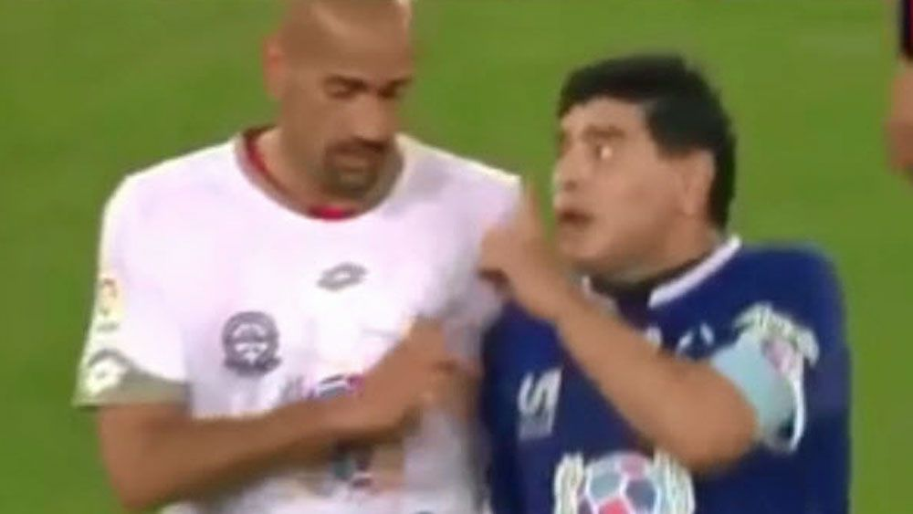 Football: Maradona stuns with foul-mouthed spray