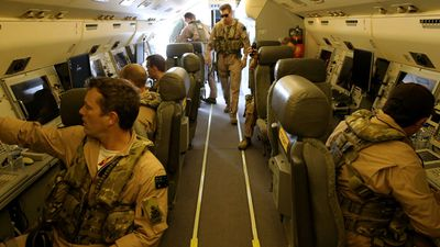 The team on in the E-7A Wedgetail Warning and Control aircraft (AWAC) provide direction and awareness to coalition fighter aircraft. (Picture: ADF)