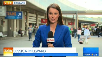 Nine Queensland reporter Jessica Millward at Brisbane Airport