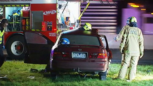 The driver of the second car was taken to hospital. (9NEWS)