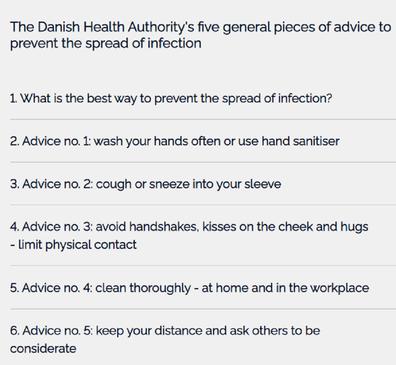 COVID-19 guidelines in Denmark.