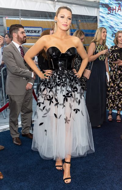 Though Blake Lively often opts for va-va-voom  body con pieces, she can just as easily make her bump disappear with full skirts and a fitted bodice.