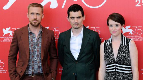 Ryan Gosling, Damien Chazelle and Claire Foy at the Venice Film Festival.