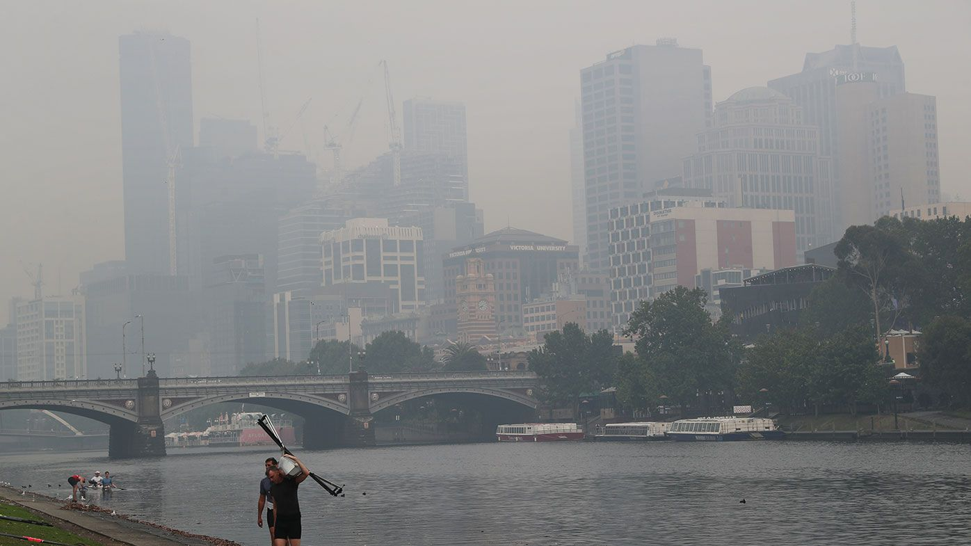 Thick smoke over Melbourne this morning.