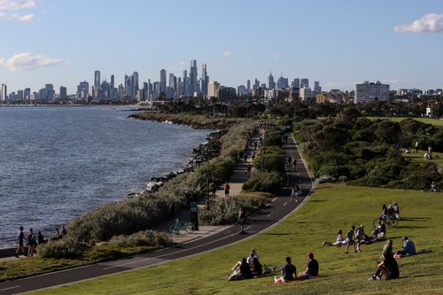 MELBOURNE, AUSTRALIA - SEPTEMBER 23: A general view of the city of Melbourne from Elwood Beach on September 23, 2021 in Melbourne, Australia. Victoria has recorded 766 new COVID-19 cases, the highest number of new cases in the community since the current Delta variant outbreak began. There have also been four deaths recorded in the last 24 hours.  (Photo by Diego Fedele/Getty Images)