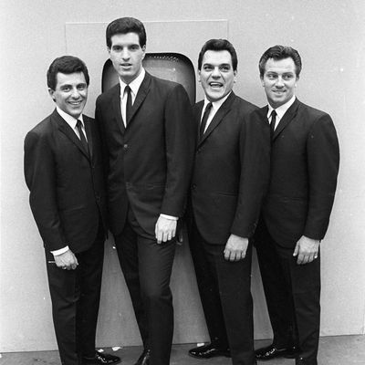 Frankie Valli, Bob Gaudio, Nick Massi and Tommy DeVito of the doo wop group The Four Seasons
