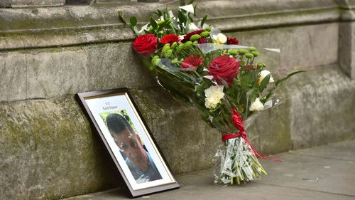 Floral tributes for PC Palmer. (AAP)