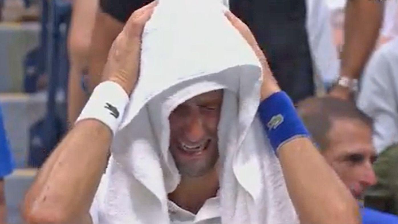 Novak Djokovic sobs during the US Open final