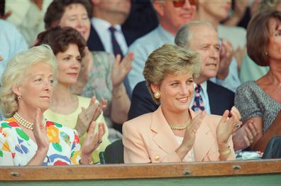 Princess Diana, Princess of Wales, attends the 1993 Men's Singles Wimbledon Tennis Final with her mother.