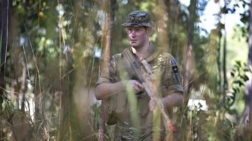 Captain Wales on patrol during a training exercise in Darwin. (AAP)