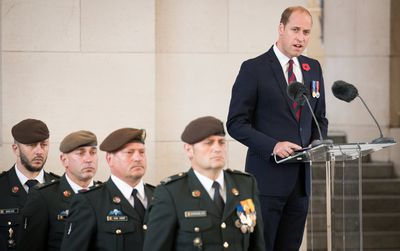 "Prince William delivers his speech, telling his audience Britain and Belgium ""stand together... in remembrance of that sacrifice""."