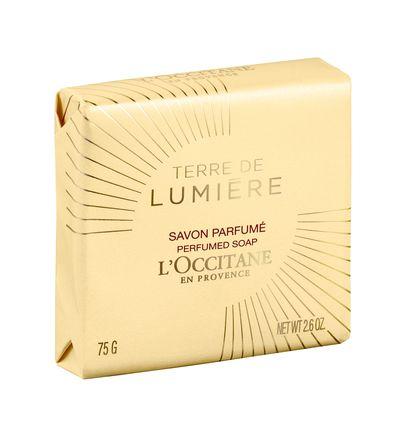 """<a href=""""https://au.loccitane.com/"""" target=""""_blank"""">L'OCCITANE Terre de Lumière Gold Edition Perfumed Soap, $6.</a>"""