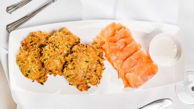 Susie Burrell's sweet potato and carrot fritters with smoked salmon
