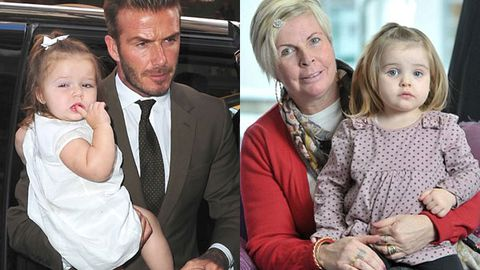 Posh job: Check out baby Harper Beckham's professional lookalike