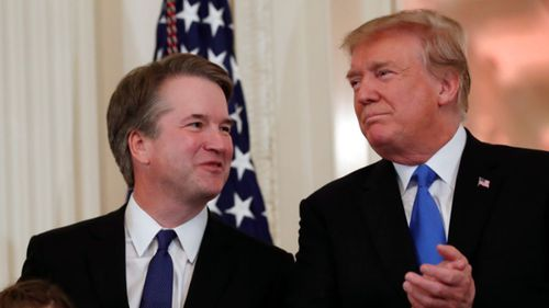 Kavanaugh's selection solidifies Trump's move to shift the Supreme Court further to the right. (AAP)