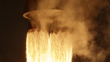 Close-up of Atlas V rocket engines during Landsat 9 launch.