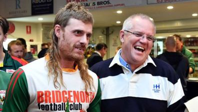 Scott Morrison in awe of footy player's magnificent mullet