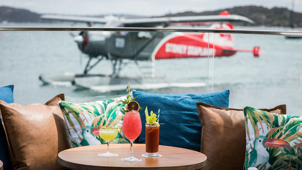 Cocktails at Sydney Seaplanes' headquarters