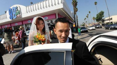 "<p>Bonnie Cam and Jon Nguyen got married in a 99 cent store in Los Angeles in 2009. The unusual venue was part of a promotion by the company, which also gave each of the couples $99.99 and a honeymoon in an undisclosed ""romantic LA location"".</p>"