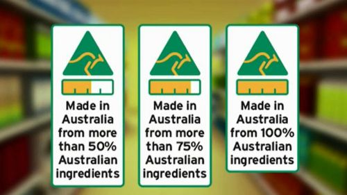 Goods made with 100 percent Australian produce will have a fully gold bar. (9NEWS)