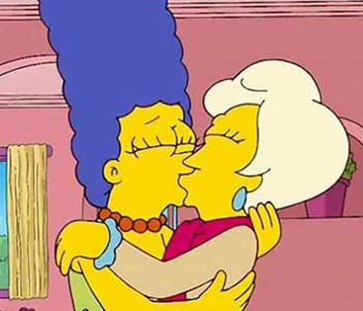 <B>The kiss:</B> Marge shared a passionate kiss with high-powered female executive Lindsay Naegle in an episode from season 20. But Marge didn't really go gay: the sapphic smooch was just one of Homer's nutty fantasies.<br/><br/><B>Tacky or touching?</B> Tacky  &#151; it was a cheap stunt in a dream sequence. On the other hand, <I>The Simpsons</I> needs all the laughs it can get nowadays. But Marge's sister Patty really <em>is </em>a lesbian, which kinda makes up for it.