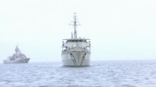 The Navy's fleet has been playing war games off the NSW coast. (9NEWS)