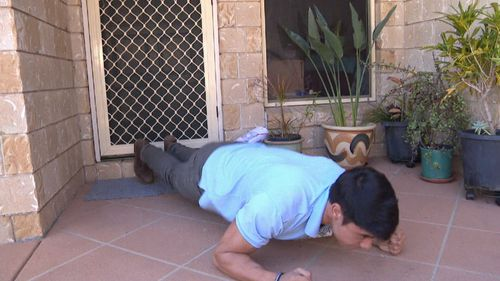 He was also keen to show off his push ups. Picture: 9NEWS