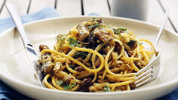 Spaghettini with sardines, fennel and breadcrumbs