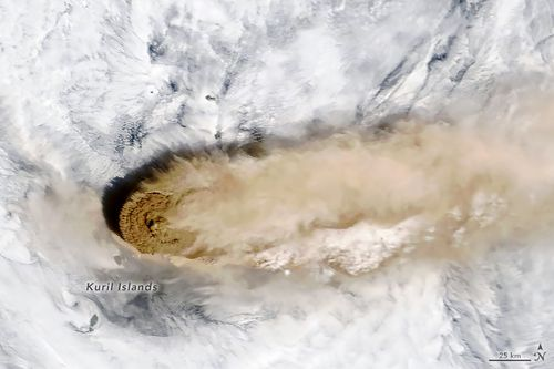 NASA has released the stunning photos of Raikoke, a volcano in the Kuril Islands,taken from the International Space Station on June 22.