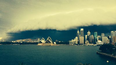 The ominous clouds blanket some of Sydney's icons. (Sean Malone)